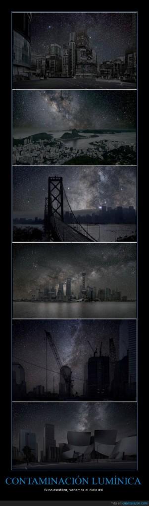 Contaminación lumínica: Si no existiera, veríamos el cielo así (imperfecto del subjuntivo) (condicional)